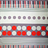 Red Grey Circles Stripes
