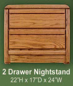 Oak 2 Drawer Nightstand